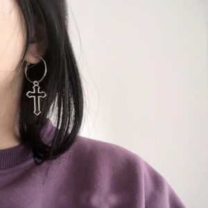 Silver Cross Drop Hoop Earrings
